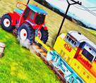 Traktör ile Tren Çekme 3d